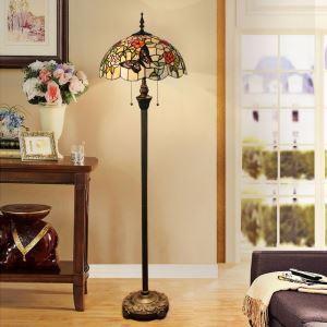 Lampadaire tiffany en verre H165cm rose papillon grand pour salle
