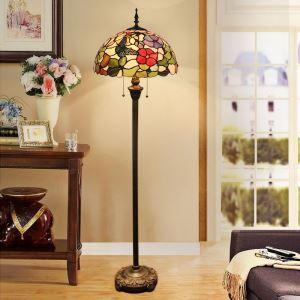 Lampadaire tiffany en verre H165cm fleur coloré papillon pour salle