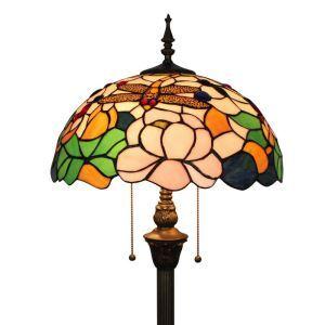 Lampadaire tiffany en verre H165cm lotus libellule pour salle
