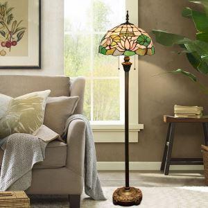 Lampadaire tiffany en verre H165cm lotus rose pour salle