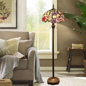 Lampadaire tiffany en verre H165cm vigne florifère coloré pour salle