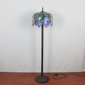 Lampadaire tiffany en verre H165cm tige florifère violet pour salle