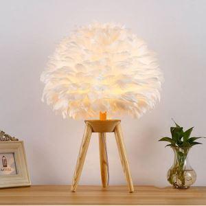 Lampe à poser en bois plume D40cm pour salon chambre