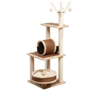 Étagère d'escalade nid en bois sisal beige brun pour chat