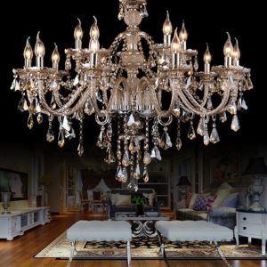 Afficher les détails pour Lustre à pampilles baroque cristal à 15 lampes D 95 cm cognac pour salon livraison offerte
