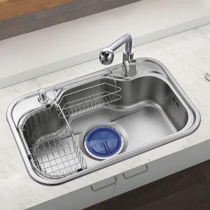 Evier en acier inoxydable 304 L75cm avec 1 bac 1 tuyeau de raccord 1 distributeur de savon 2panier de vidange pour cuisine