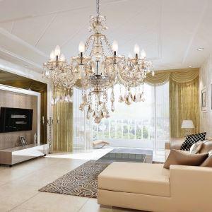Lustre baroque cristal à 10 lampes D 80 cm cognac grand pour salon pas cher
