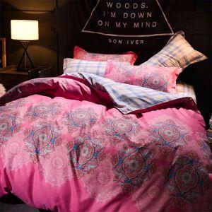 Housse de couette 200*230cm 1 drap 2 taies d'oreiller dessin rose