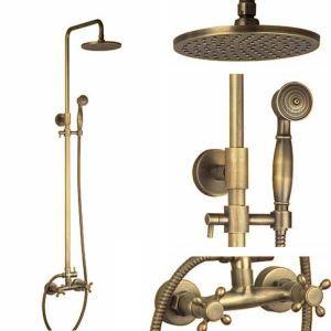 Colonne de douche en laiton H 1350 mm antique avec douchette pour salle de bains