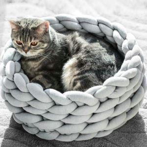 Nid de chat tissée à la main D40cm lavable en machine