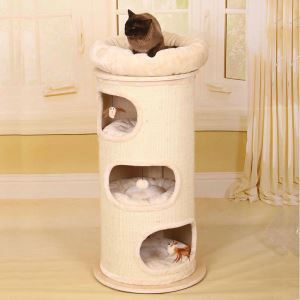Étagère d'escalade nid en bois sisal beige pour chat