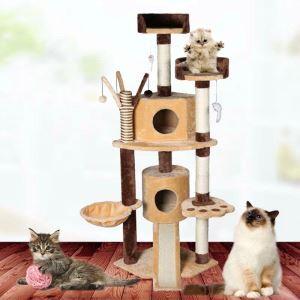 Étagère d'escalade griffoir niches colonne en bois velours beige café brun pour chat
