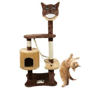 Étagère d'escalade griffoir niches colonne en bois velours brun mignon pour chat