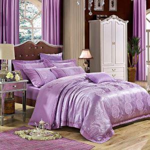 Housse de couette 250*250cm/250*270cm 1 drap 2 taies d'oreiller rose violette
