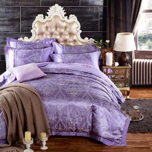 Housse de couette 250*250cm/250*270cm 1 drap 2 taies d'oreiller violette