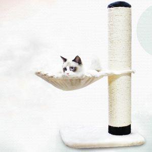 Étagère d'escalade avec hamac griffoir niches colonne en bois velours beige pour chat