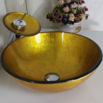 Vasque A Poser Verre Trempe Rond Robinet Cascade Pour Salle De Bains