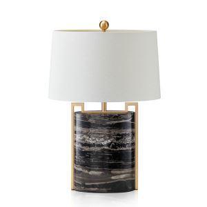 Lampe à poser en cuivre marbre abat-jour de tissu H68cm blanc pour salon chambre