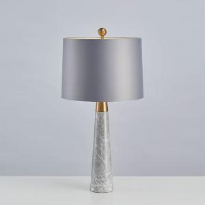 Lampe à poser en fer marbre abat-jour de tissu H72cm gris pour salon chambre
