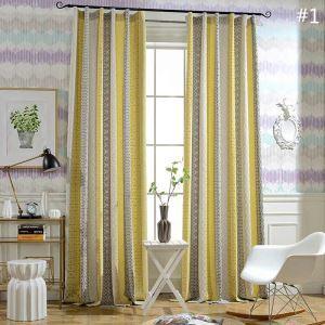 Rideau tamisant en coton lin jacquard géométrique pour chambre à coucher simple moderne