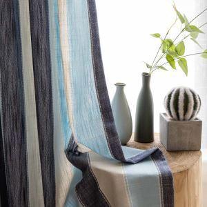 Rideau tamisant jacquard rayure bleu pour chambre à coucher moderne