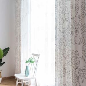 Rideau tamisant imprimé feuille pour chambre à coucher salon simple américain