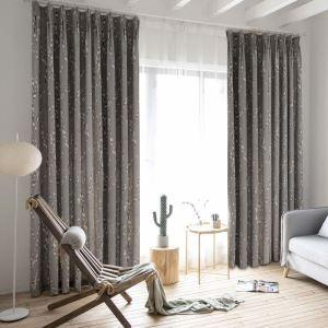 Rideau tamisant imprimé en coton lin pour chambre à coucher simple américain