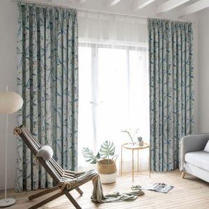 Rideau tamisant imprimé en coton lin bleu pour chambre à coucher simple américain