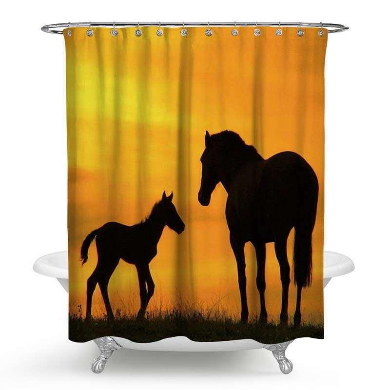 Rideau de douche impression 3d cheval noir pour salle de bain imperm able anti moisissure for Moisissure noire douche