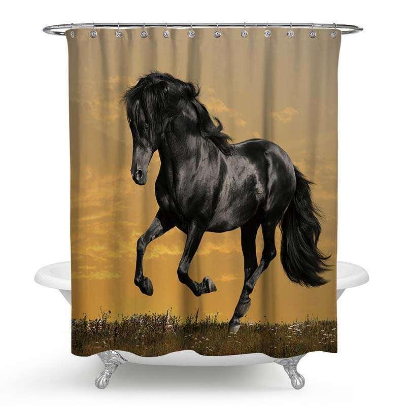 Rideau de douche impression 3d beau cheval noir pour salle de bain imperm able anti moisissure for Moisissure noire douche
