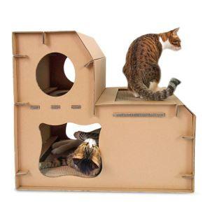 Nid de chat avec plaque à griffes en carton ondulé double échelles