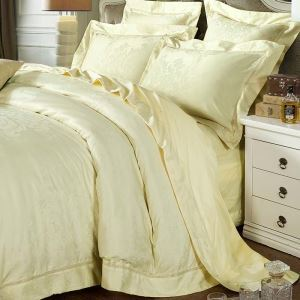 Housse de couette 250*250cm/250*270cm 1 drap 2 taies d'oreiller jaune motif magnifique