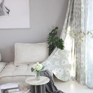 Rideau tamisant imprimé en polyester conton fleur pour chambre salon pastoral simple