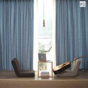 Rideau tamisant imprimé en chenille coton lin couleur unie pour chambre salon simple américain