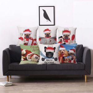 Taie de coussin Noël animaux en coton lin 5 modèles livraison gratuite