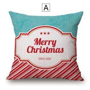 Taie de coussin Noël en coton lin 4 modèles livraison gratuite