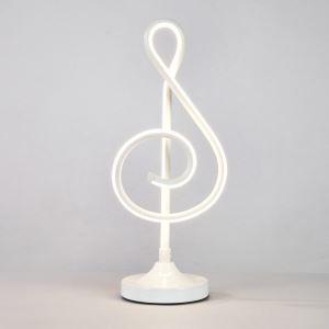 Lampe à poser LED en fer aluminium abat-jour d'acrylique H48cm note de musique blanc pour salon chambre