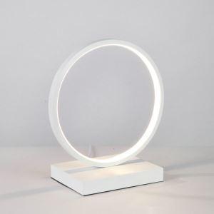 Lampe à poser LED en fer aluminium abat-jour d'acrylique H23/32cm cercle blanc pour salon chambre
