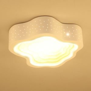 Plafonnier LED acrylique nuage blanc D 42 cm pour chambre salle