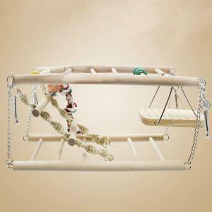 Echelle d'escalade en bois avec balançoire plate-forme jouets pour oiseaux perroquet