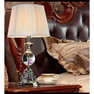Lampe à poser en résine cristal abat-jour de tissu H68cm base magnifique pour salon chambre