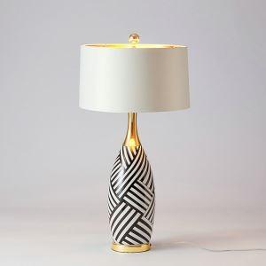 Lampe à poser en céramique abat-jour de tissu H82cm rayure blanc et noir pour salon chambre