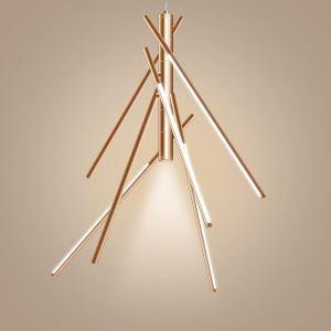 Lustre bambou dimmable LED intégrée à 7 lumières or rose avec télécommande bon design