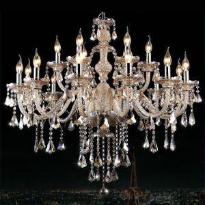 Lustre à pampilles baroque cristal à 15 lampes D 95 cm cognac pour salon livraison offerte