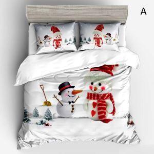 Noël housse de couette 230*250cm 1 drap 2 taies d'oreiller impression 3D ours 4 modèles