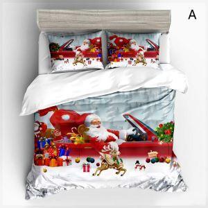 Noël housse de couette 230*250cm 1 drap 2 taies d'oreiller père Noël 4 modèles