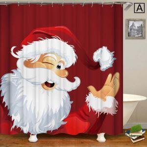 Rideau de douche Noël impression 3D cadeau de Noël 4 modèles pour salle de bain imperméable anti-moisissure