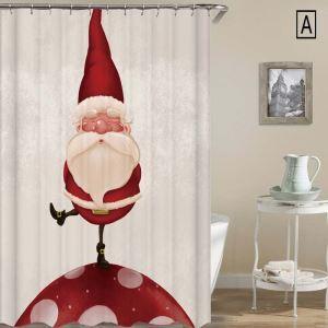 Rideau de douche Noël impression 3D bonhomme de neige 4 modèles pour salle de bain imperméable anti-moisissure