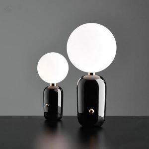 Lampe à poser en métal verre D15cm plaquage boule blanc o/noir pour chambre salle simple