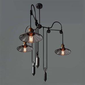 Lustre à 3 lampes design D 95 cm noir pour restaurant cuisine